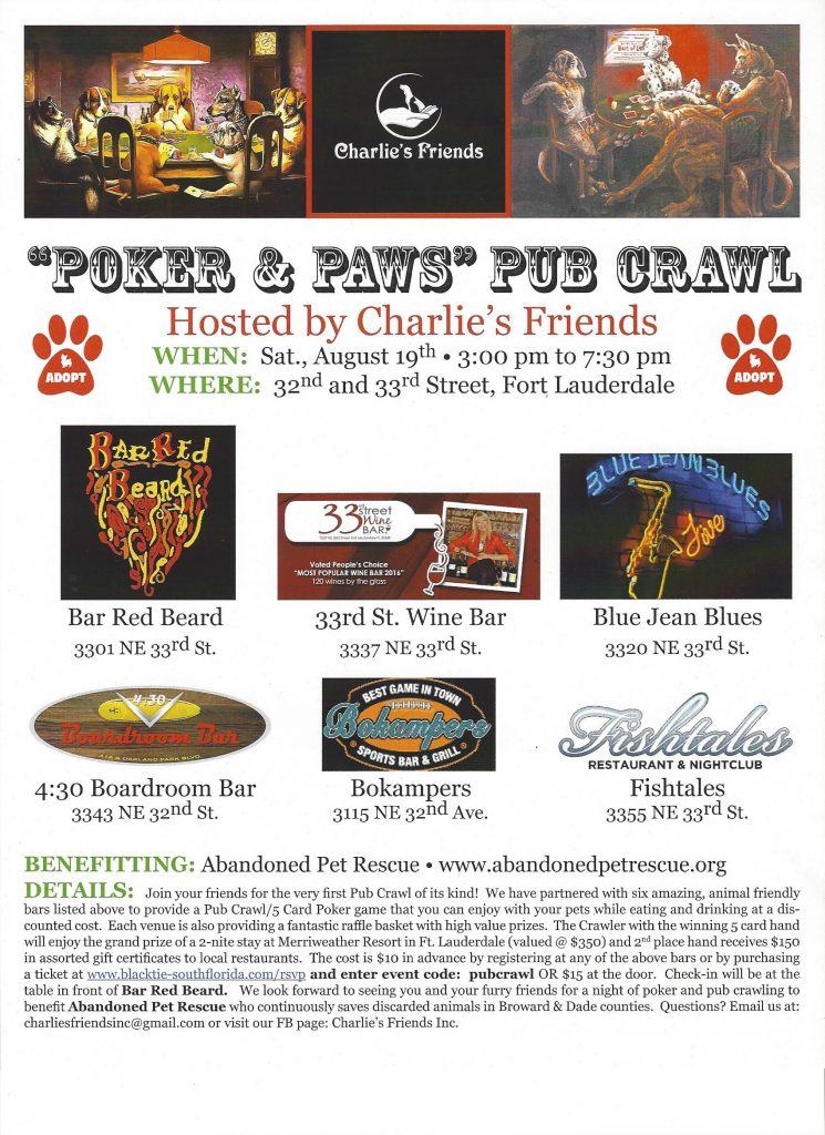 POKER AND PAWS PUB CRAWL 8-19-17