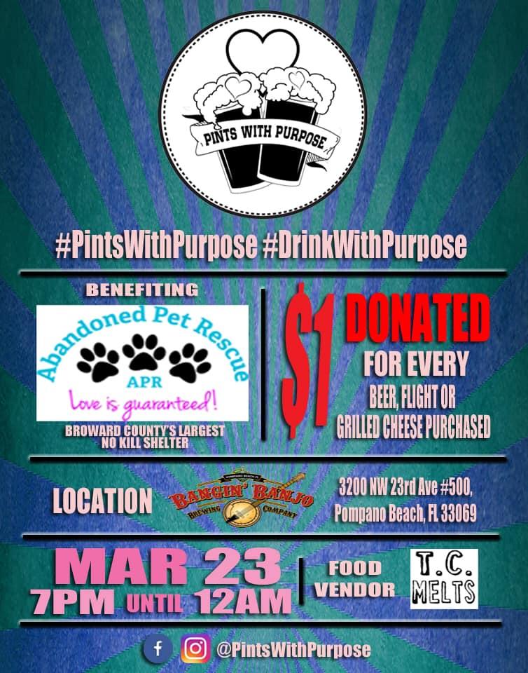 PINTS WITH A PURPOSE 3/23/19 @ Bangin Banjo Brewery | Pompano Beach | Florida | United States