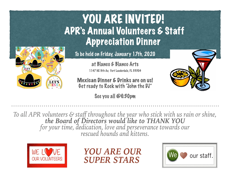 VOLUNTEERS AND STAFF APPRECIATION DINNER (1/17) @ BLANCO Y BLANCO ARTS | Fort Lauderdale | Florida | United States