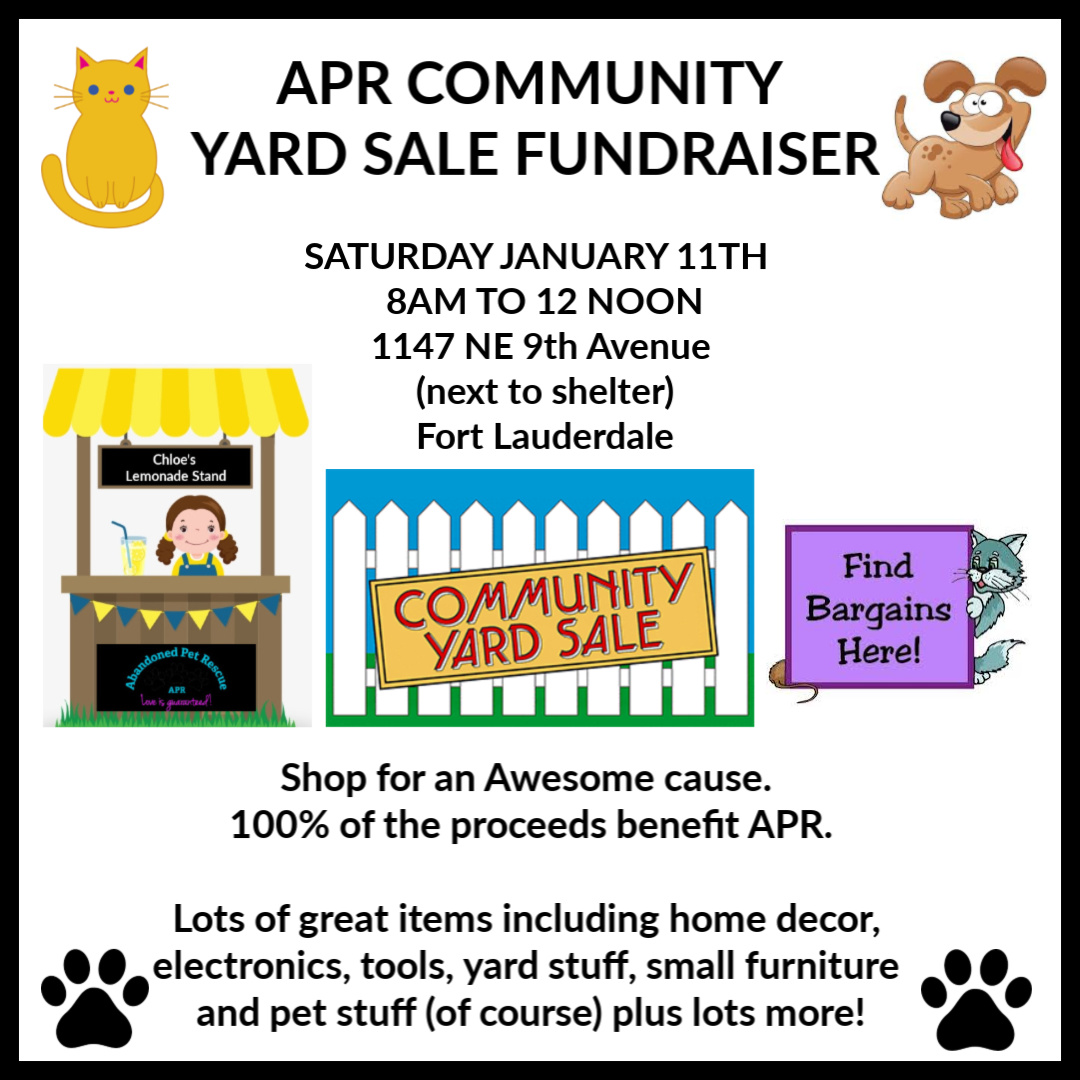 APR COMMUNITY YARD SALE FUNDRAISER (1/11) @ Blanco Y Blanco Arts | Fort Lauderdale | Florida | United States