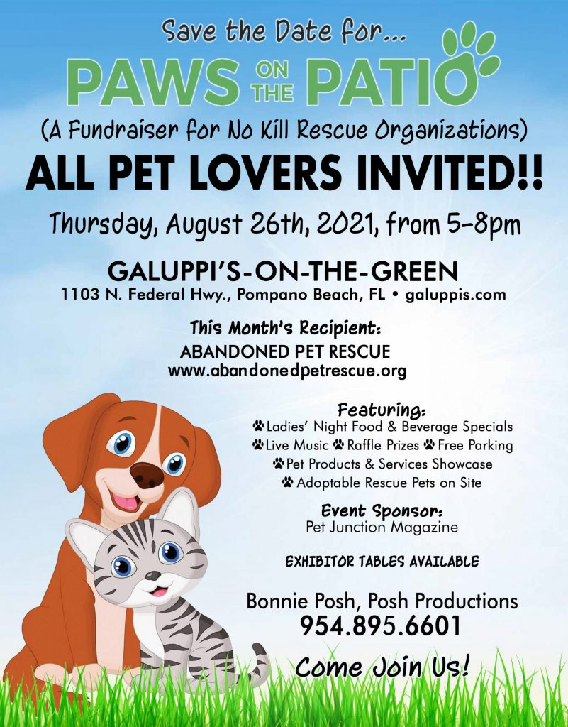 PAWS ON THE PATIO (8/26) @ Galuppi's On The Green | Pompano Beach | Florida | United States